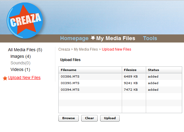 Shows uploading .mts-files